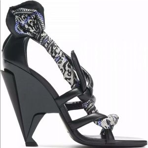 JIMMY CHOO Kalypso Knotted Leather Wedge Sandals